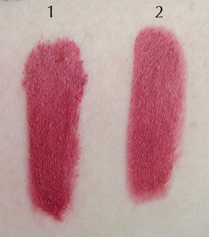 Swatches of 1. Urban Decay Vice Lipstick in Manic; and 2. e.l.f. Essential Lipstick in Posh.