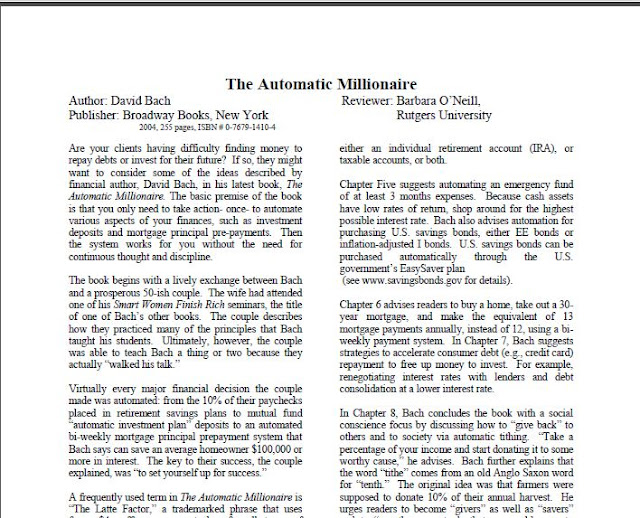 The Automatic Millionaire by David Bach in PDF Download eBook