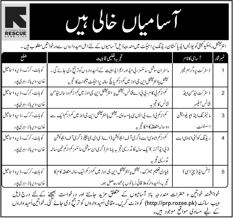 Jobs In International Rescue Committee Pakistan Dec 2017