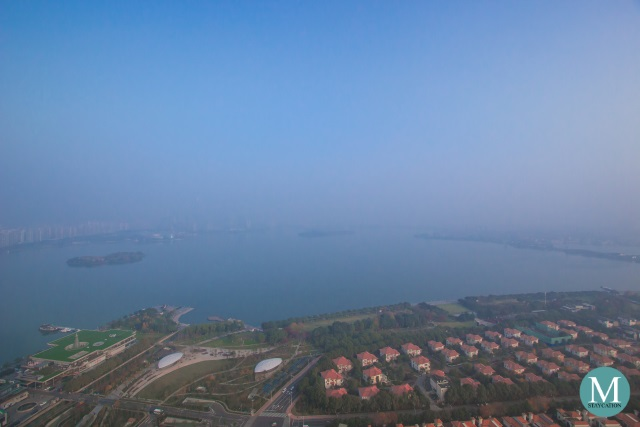 view of Jinji Lake from the bedroom of the Fantastic Suite at W Hotel Suzhou China