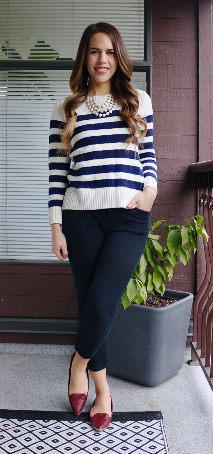 Jules in Flats - Wide Stripe Sweater with Ankle Pants for Work