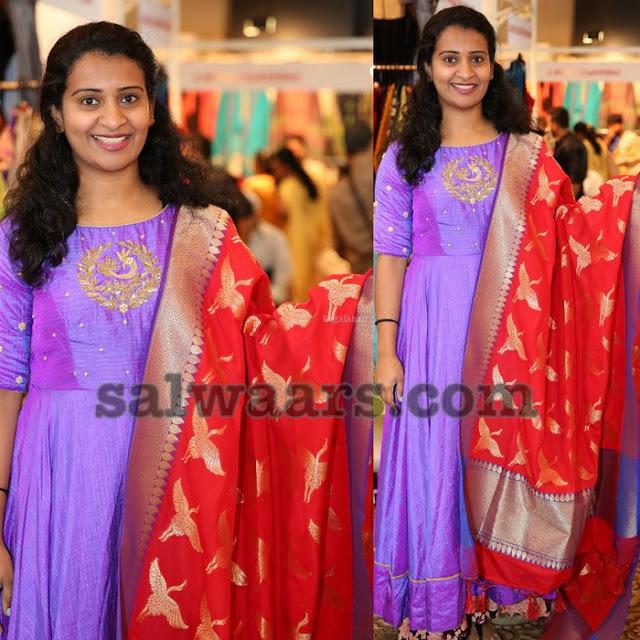 Violet Salwar Red Silk Duppatta