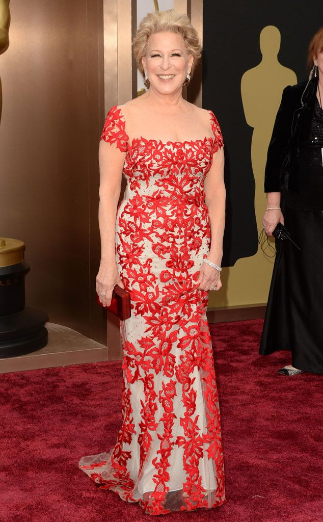 Bette Midler in a floral detailed red Reem Acra gown at the Oscars 2014