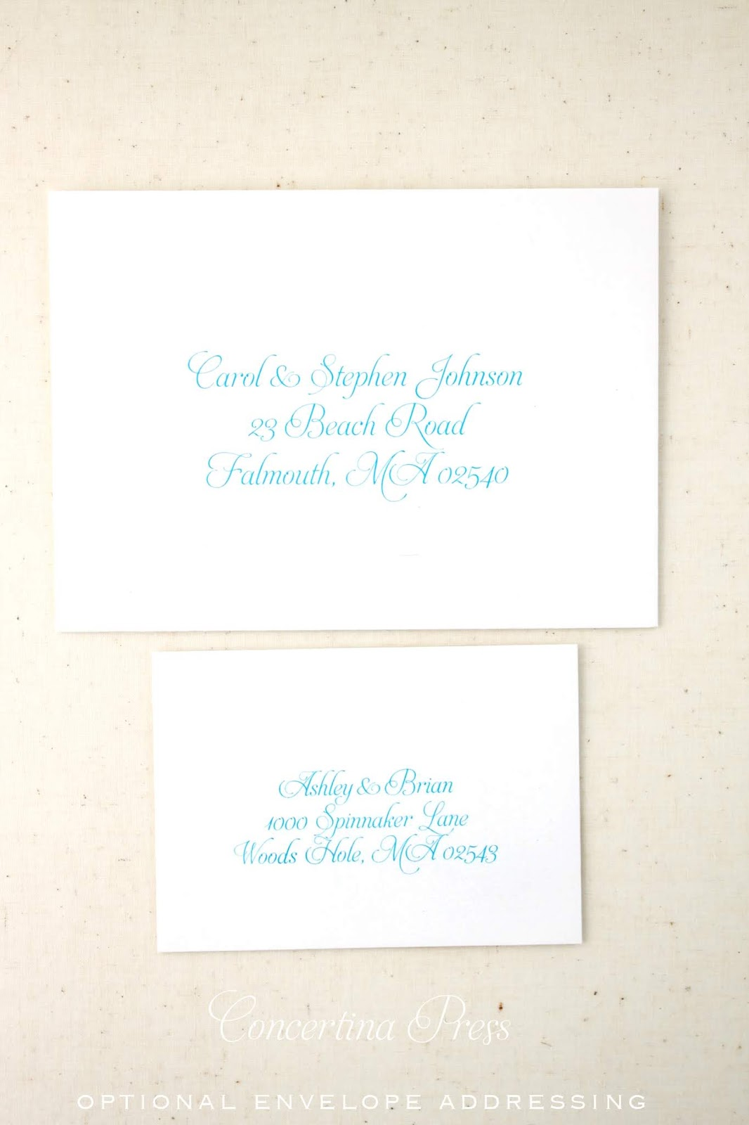 Addressed  Envelopes for Waves Beach Wedding Invitation from Concertina Press