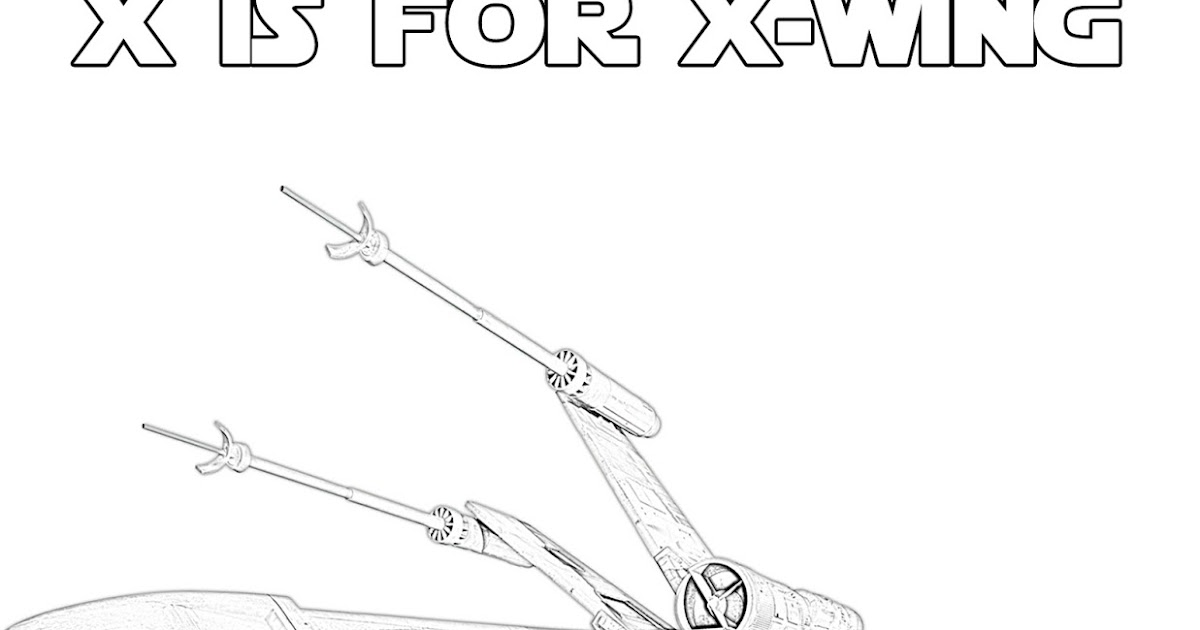 X is for XWing Star Wars Alphabet Coloring Page The