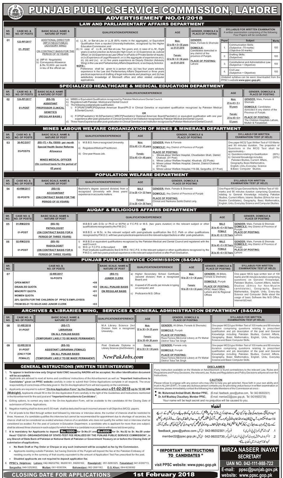 Additional Director--01  Assistant Professor Clinical Genetics (BPS-18)--01  Mines Medical Officer (BPS-17)--05  Accountant (BPS-16)--02  Pathologist (BPS-18)--01  Radiologist (BPS-18)--01  Junior Clerks (BPS-11)--11  Librarian (BPS-17)--01  Assistant Librarian (Female Only) (BPS-16)--01