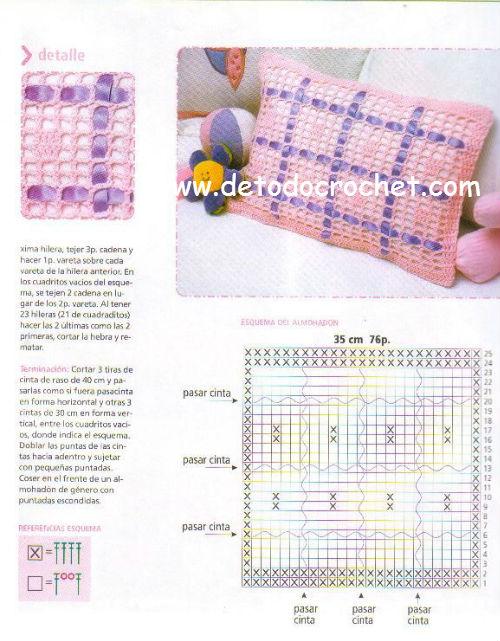 patrones de cojin crochet filet