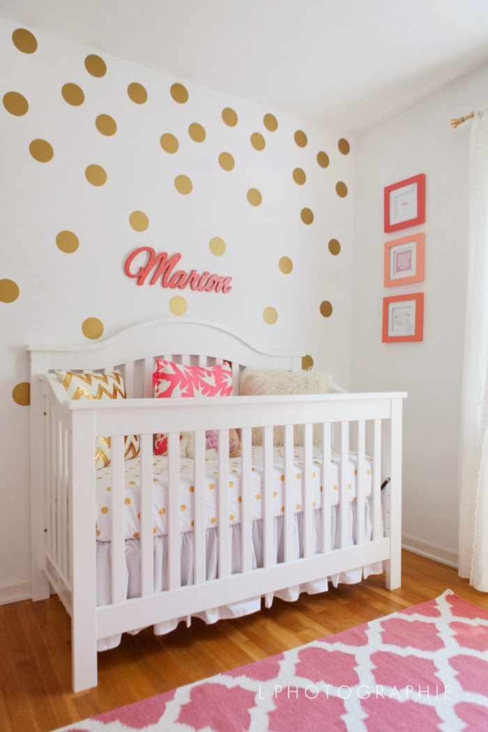 Ikea Crib Bedding Running From The Law: Mim's Coral, Gold & White Nursery
