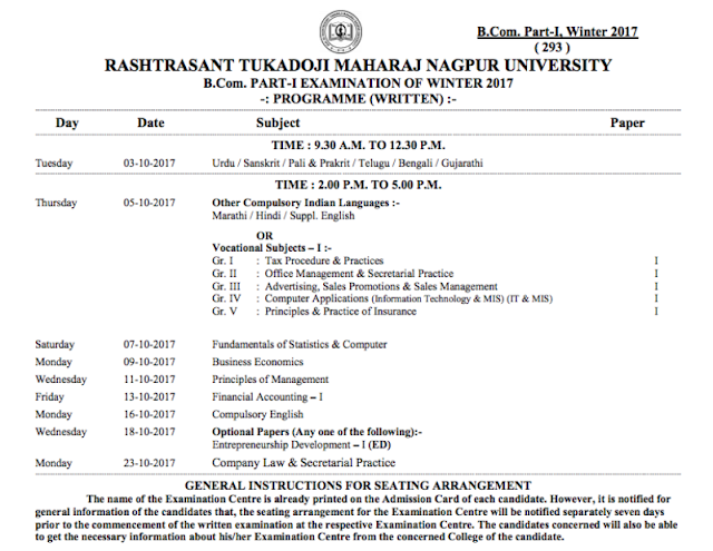 RTMNU Time Table BCom Part I Exam Winter 2017