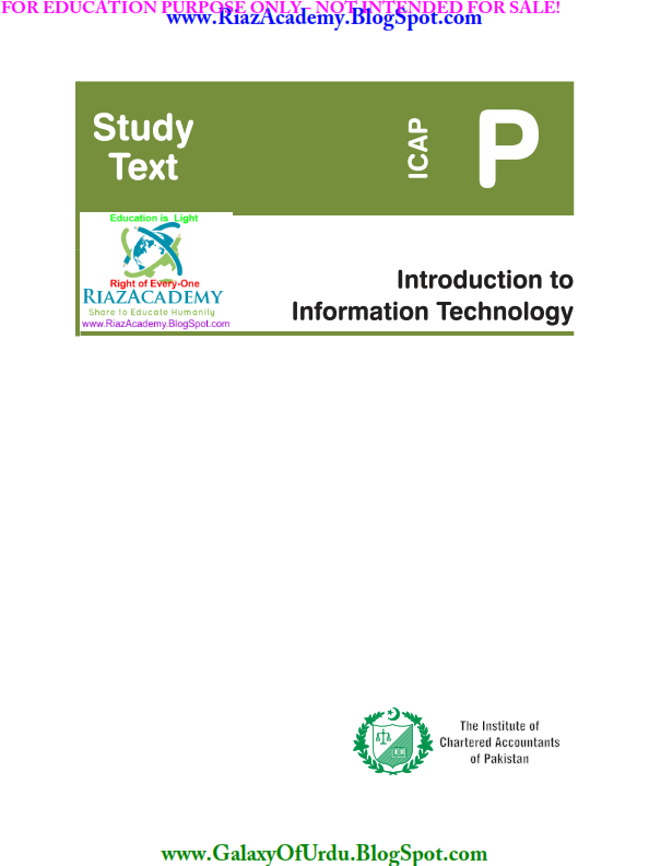 INTRODUCTION TO INFORMATION TECHNOLOGY - STUDY TEXT- BY ICAP