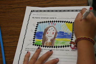 Create a native american name and symbol using a picture dictionary.