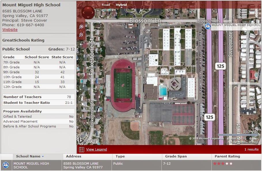 Rancho Bernardo High School Campus Map.Homes Near Mt Miguel High School In Spring Valley Ca