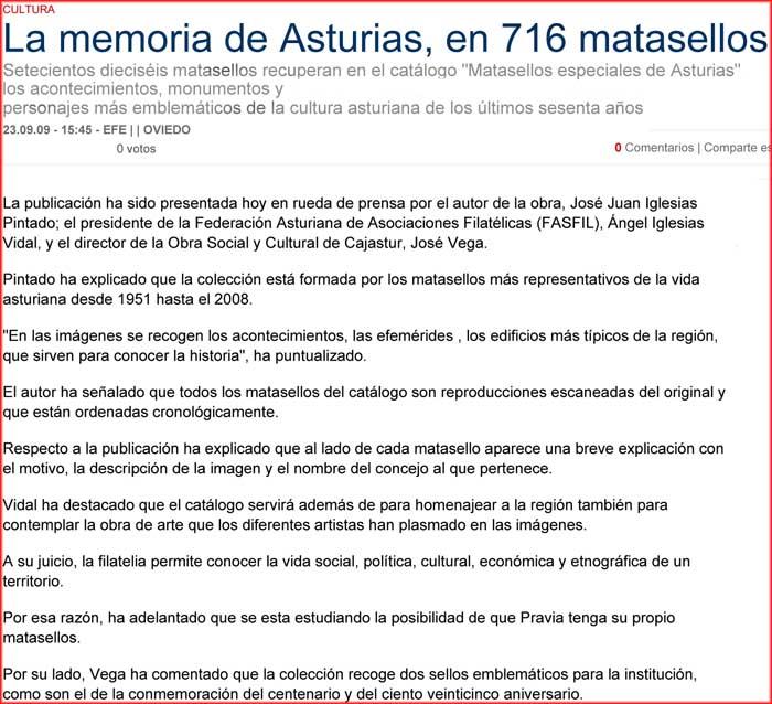 José Juan Iglesias Pintado publicó el libro Matasellos especiales de Asturias