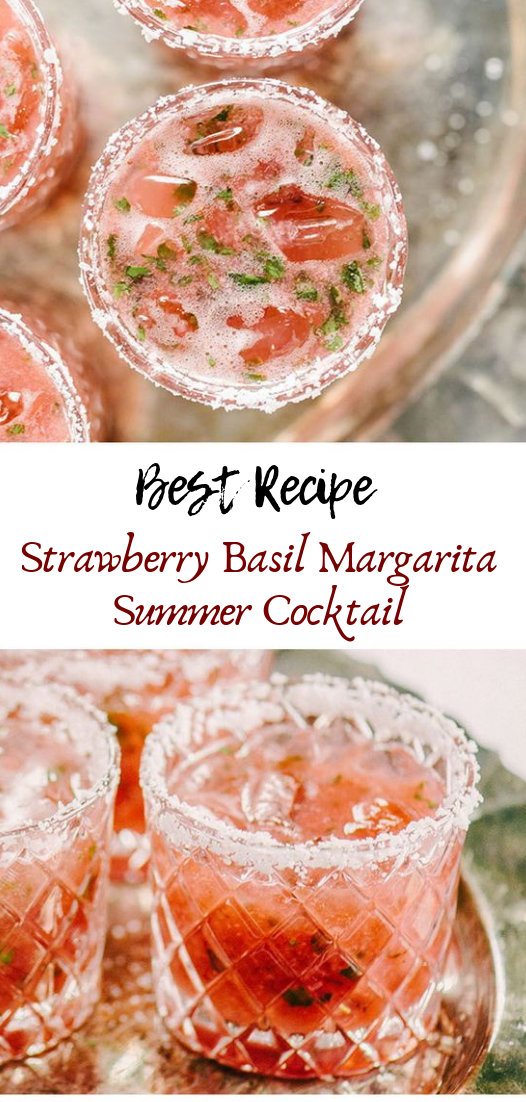 Strawberry Basil Margarita Summer Cocktail #healthydrink #easyrecipe