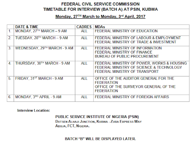 Interview Timetable for Federal Civil Service