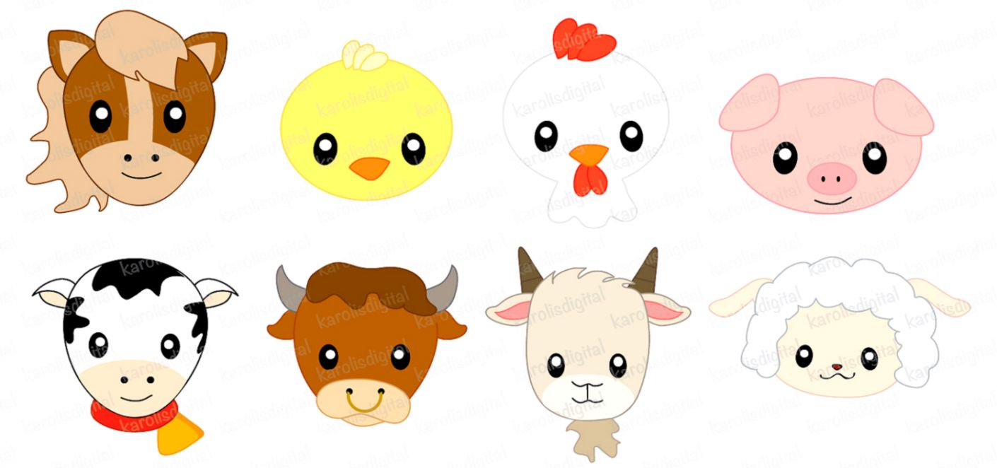 hight resolution of baby farm animals clipart faces clip art set lemonize