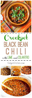 Slow Cooker Black Bean Chili with Lime and Cilantro found on KalynsKitchen.com