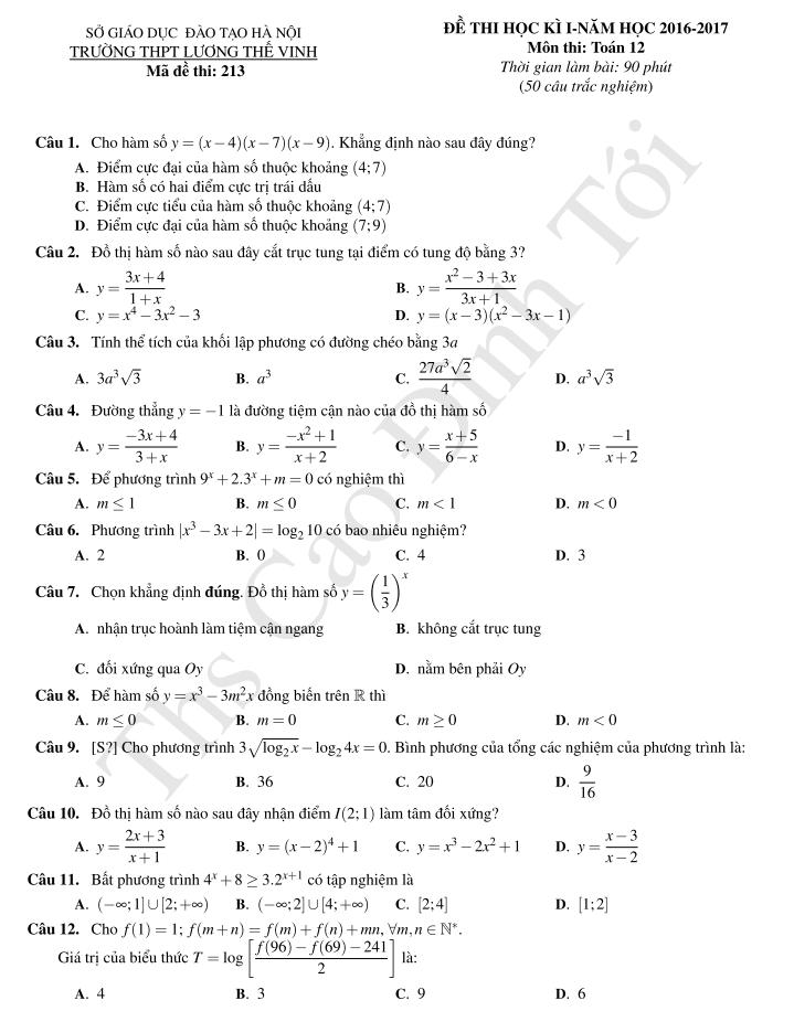 đề toán học kì 1 lớp 12 trắc nghiệm năm 2016 - 2017 có đáp án