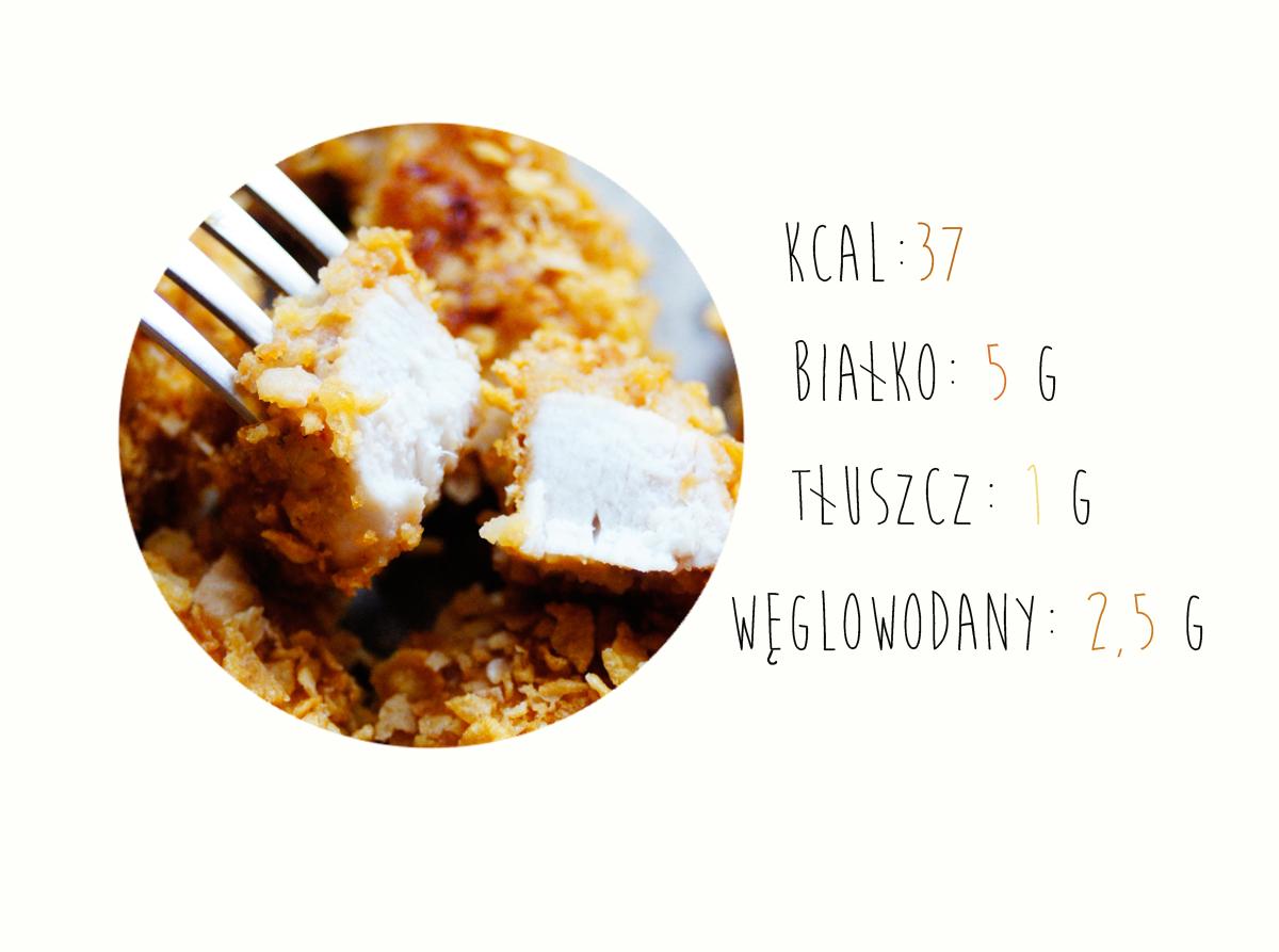 kalorie, makroskładniki, nuggetsy z kurczaka, pieczone, niskokaloryczne, fit, z masłem orzechowym, płatki kukurydziane