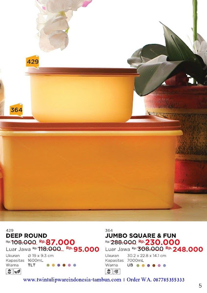 Promo Diskon Tulipware September 2017, Square & Fun, Wide Round