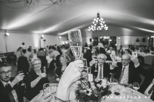 invitados de boda brindando por los novios