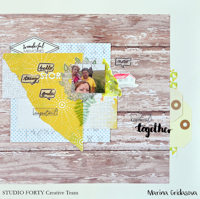 summer layout by Marina Gridasova @akonitt #layout #studioforty #by_marina_gridasova #transparentstickers #stickers #clearstamps #scrapbooking #papercrafting