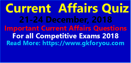 Current Affairs Quiz 21-24 December 2018
