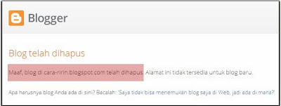 Blog Cara-Ririn.blogspot.com Dihapus Oleh Google by sharehovel