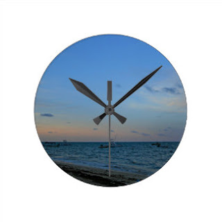 Sky, sea and beach wall clock