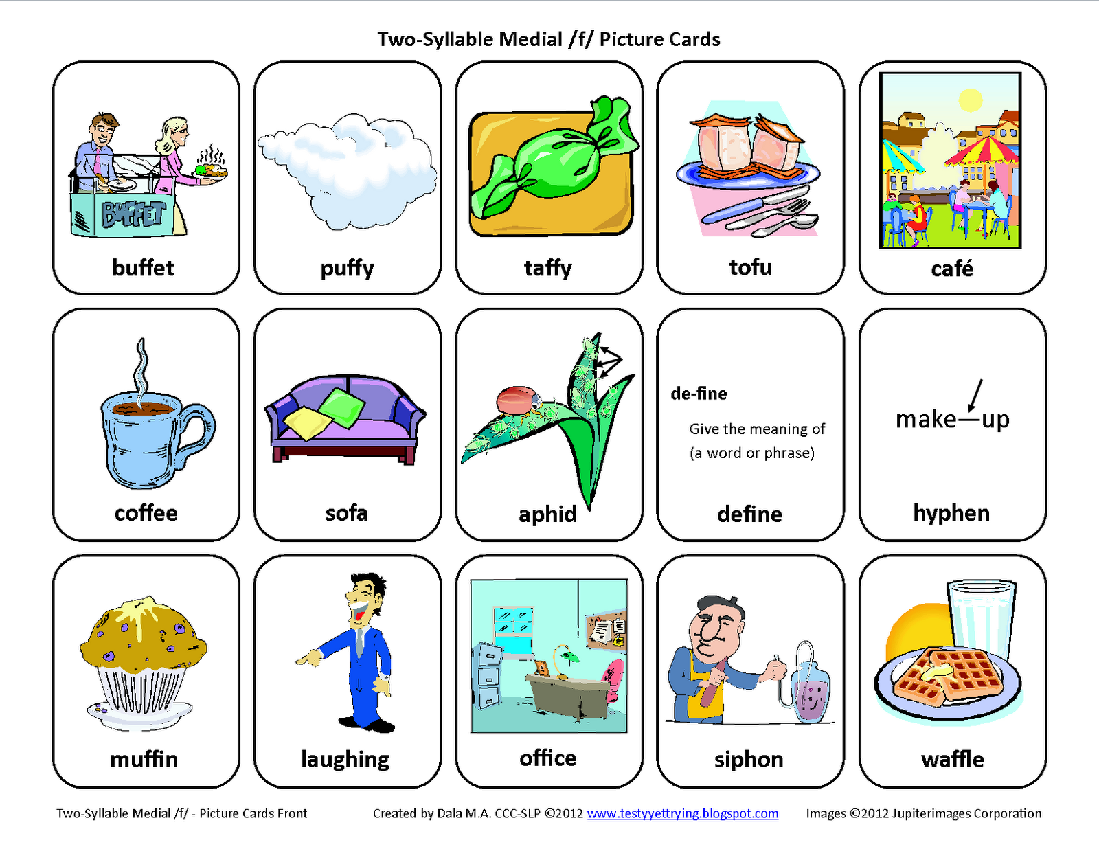 Testy Yet Trying Medial F Free Speech Therapy Articulation Picture Cards