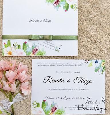 convite de casamento artesanal personalizado delicado floral aquarelado suculentas cactus folhagens verde musgo convite delicado convite rústico laço chanel com cristal convite verde