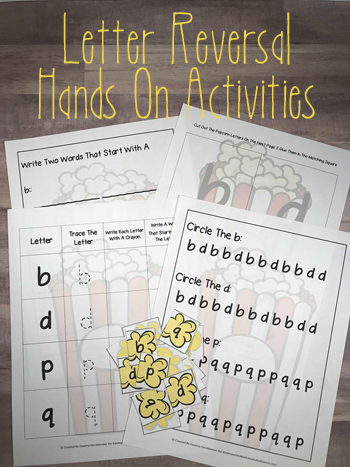 FREE Popcorn Reversal Activities - these hands on, free printable worksheets and activities are perfect for helping kids correctly identify and write b and d, p and q, for preschool, kindergarten, first grade, and 2nd grade