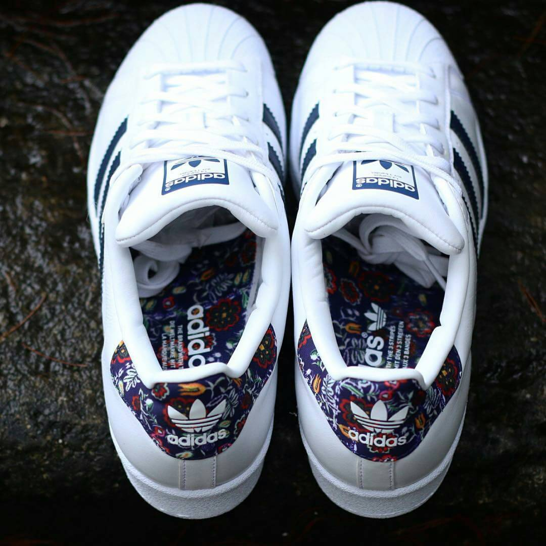 best sneakers b6249 f6bd5 Adidas Superstar W - White   Navy   Floral