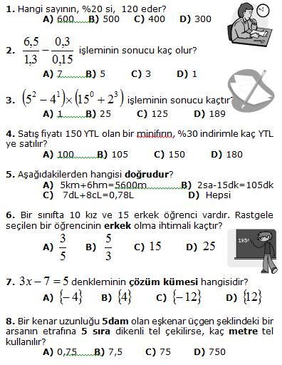6. Sinif Matematik 2. Dönem 3. Yazili Sinav Sorulari 2012 ...