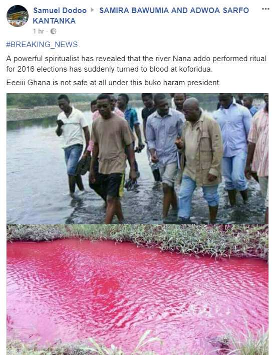 A powerful spiritualist has revealed that the river Nana addo performed ritual for 2016 elections has suddenly turned to blood at koforidua.