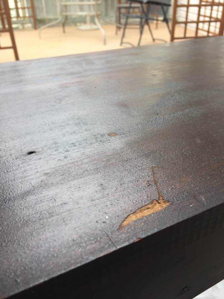 Damaged finish on top of desk