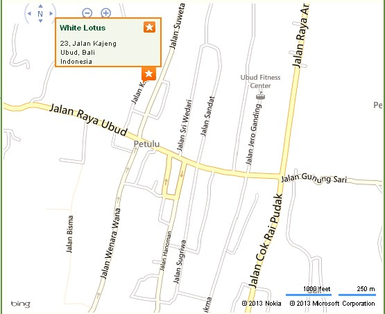 White Lotus Ubud Location Map for Tourists,Location Map of White Lotus Ubud yoga & Meditation Centre,White Lotus Ubud Accommodation Destinations Attractions Hotels Map