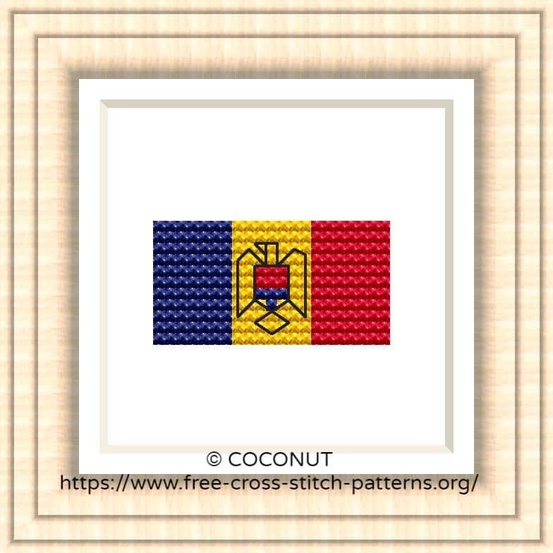 NATIONAL FLAG OF MOLDOVA CROSS STITCH CHART