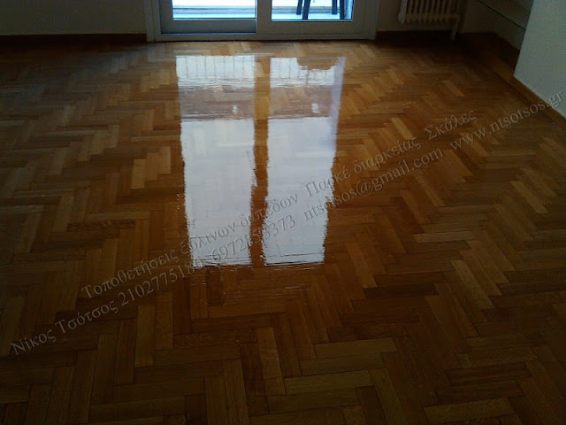 Συντήρηση σε ξύλινο πάτωμα  ξυλείας δρυός