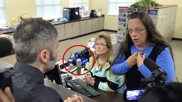 Kim Davis refusing a gay couple a marriage license NextToKimDavis and Diet Mountain Dew