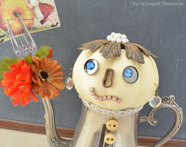 Make a unique Pumpkin People creation with vintage trinkets and a tarnished silver teapot.