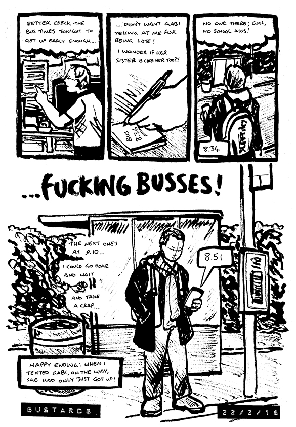 Autobiographical comic in which Alex is planning to catch the bus, but the driver does not show up