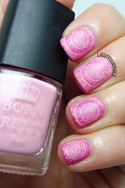 Pink nail stamping nail art #nailart #stamping #lightyournails