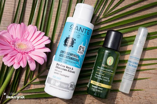 Sante Naturkosmetik Erfrischendes Gesichtswasser | Primavera Nachtkerzenöl | Cremekampagne Hyaluronserum