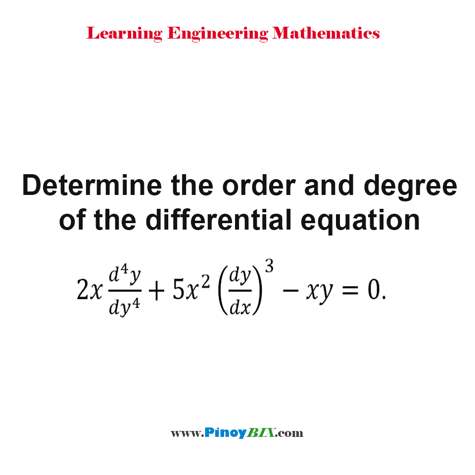 Determine the order and degree of the differential equation 2x (d^4 y)/〖dy〗^4 + 5x^2 (dy/dx)^3 - xy = 0.
