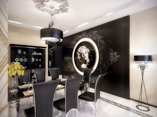 diseño comedor blanco negro