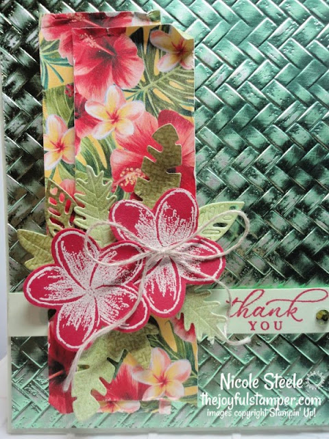 foil paper technique | timeless tropical | tropical oasis | coastal weave embossing folder | distressing | Nicole Steele The Joyful Stamper