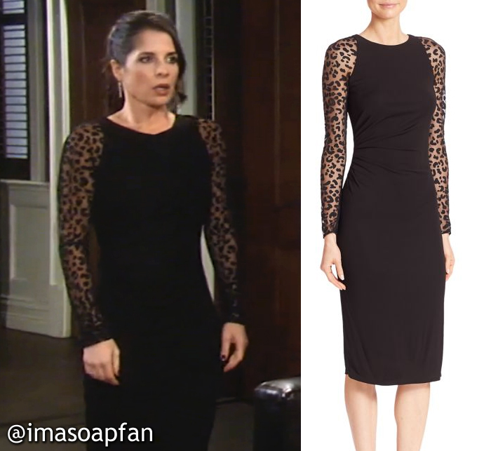 9521c04524b Sam s Black Dress with Sheer Leopard Spot Sleeves. See more David Meister  Clothing.