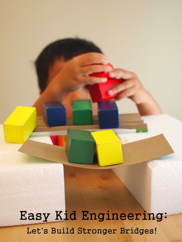 building cardboard bridges with kids (engineering)