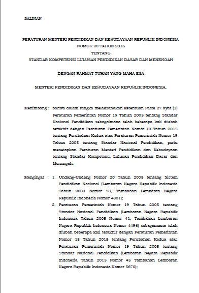 SALINAN PERATURAN MENTERI PENDIDIKAN DAN KEBUDAYAAN REPUBLIK INDONESIA NOMOR 20 TAHUN 2016 TENTANG STANDAR KOMPETENSI LULUSAN PENDIDIKAN DASAR DAN MENENGAH DENGAN RAHMAT TUHAN YANG MAHA ESA MENTERI PENDIDIKAN DAN KEBUDAYAAN REPUBLIK INDONESIA, Menimbang : bahwa dalam rangka melaksanakan ketentuan Pasal 27 ayat (1) Peraturan Pemerintah Nomor 19 Tahun 2005 tentang Standar Nasional Pendidikan sebagaimana telah beberapa kali diubah terakhir dengan Peraturan Pemerintah Nomor 13 Tahun 2015 tentang Perubahan Kedua atas Peraturan Pemerintah Nomor 19 Tahun 2005 tentang Standar Nasional Pendidikan, perlu menetapkan Peraturan Menteri Pendidikan dan Kebudayaan tentang Standar Kompetensi Lulusan Pendidikan Dasar dan Menengah; Mengingat : 1. Undang-Undang Nomor 20 Tahun 2003 tentang Sistem Pendidikan Nasional (Lembaran Negara Republik Indonesia Tahun 2003 Nomor 78, Tambahan Lembaran Negara Republik Indonesia Nomor 4301); 2. Peraturan Pemerintah Nomor 19 Tahun 2005 tentang Standar Nasional Pendidikan (Lembaran Negara Republik Indonesia Tahun 2005 Nomor 41, Tambahan Lembaran Negara Republik Indonesia Nomor 4496) sebagaimana telah diubah beberapa kali terakhir dengan Peraturan Pemerintah Nomor 13 Tahun 2015 tentang Perubahan Kedua atas Peraturan Pemerintah Nomor 19 Tahun 2005 tentang Standar Nasional Pendidikan (Lembaran Negara Republik Indonesia Tahun 2015 Nomor 45 Tambahan Lembaran Negara Republik Indonesia Nomor 5670);